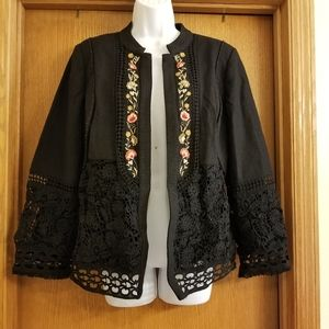 Chicos Black Embroidered Novelty Open Jacket 2